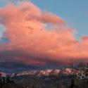 sunset, snow, mountains